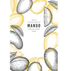 hand drawn sketch style mango banner organic vector image