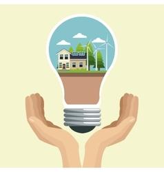 Hand holding bulb modern house ecology energy vector