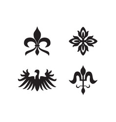 heraldry royal symbols and elements black icons vector image