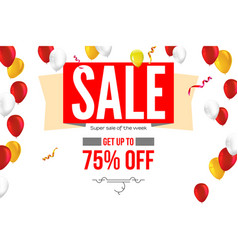 horizontal sales banner with flying inflatable vector image