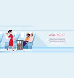 inflight service cartoon stewardess serving vector image