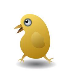 Isolated yellow chicken in cartoon style vector