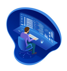 isometric programmer working in a software develop vector image