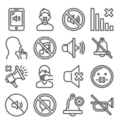 keep silence icons set on white background line vector image