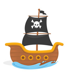 Kids pirate ship in the ocean vector
