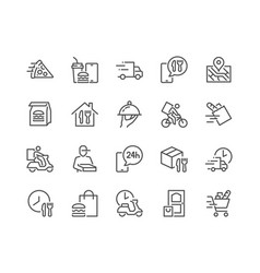 line food delivery icons vector image