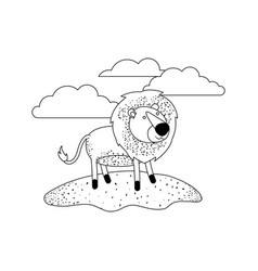 lion cartoon in outdoor scene with clouds in vector image