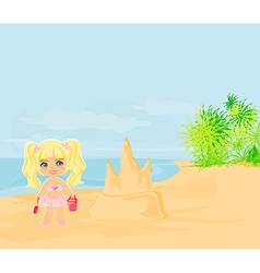 little girl building a sand castle at the beach vector image