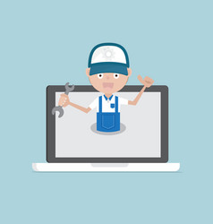 Man holding wrench on laptop system maintenance vector