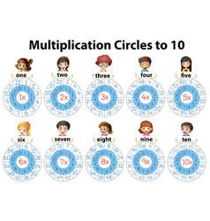 Math multiplication circles to ten vector