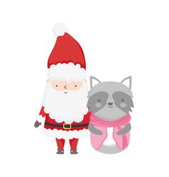 merry christmas celebration santa claus raccoon vector image