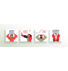 merry christmas family people greeting card set vector image