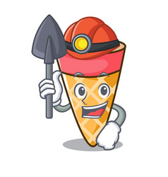 Miner ice cream tone mascot cartoon vector