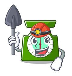 Miner kitchen scale mascot cartoon vector