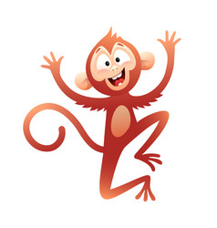 Monkey or chimpanzee for kids playing and jumping vector
