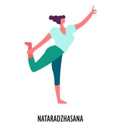 Nataradzhasana yoga position sport or fitness vector