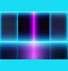 Neon 3d glow lights and grid lines vector