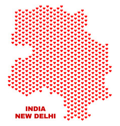 new delhi city map - mosaic of love hearts vector image