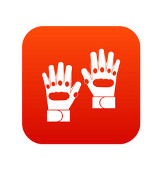 Pair of paintball gloves icon digital red vector