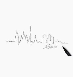 pen line silhouette moscow vector image
