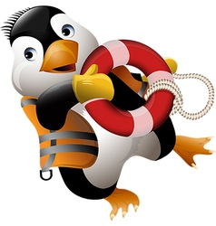 Penguin lifeguard vector image