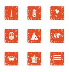 Public prayer icons set grunge style vector