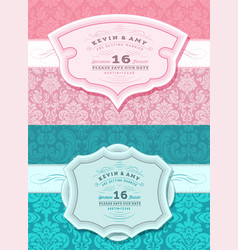 retro wedding card set vector image