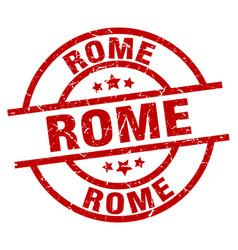 Rome red round grunge stamp vector