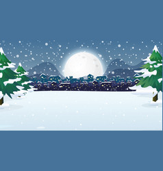 scene with city in snowy night vector image