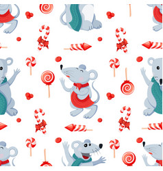 Seamless christmas happy new year pattern with vector
