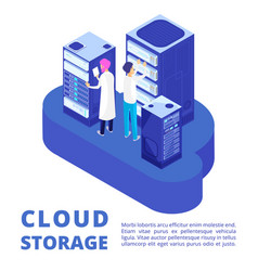 Server administration and cloud storage isolated vector