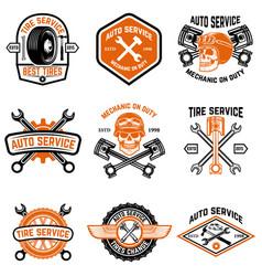 Set car service auto service tire change vector