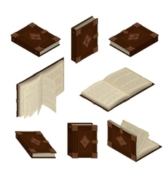 Set of old isometric books vector image