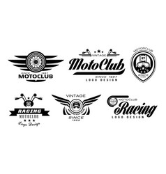 Set of original emblems for moto racing vector