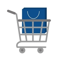 shopping cart online bag gift vector image