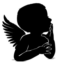 silhouette of baby angel thinks leaning his hand vector image