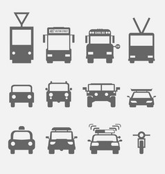 Simple transport icons front view vector