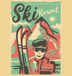 Ski resorts retro poster design template vector