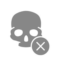 skull with cross checkmark grey icon bone vector image