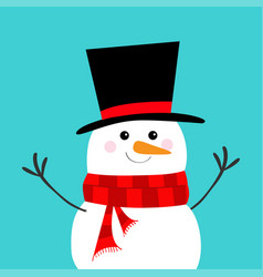 Snowman carrot nose black hat red scarf merry vector