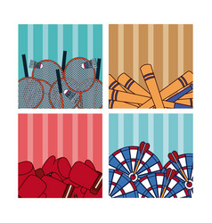 sport balls on colorful squares vector image
