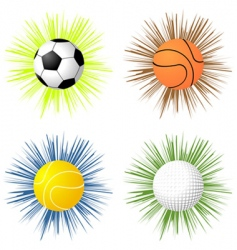 sport balls over starburst vector image