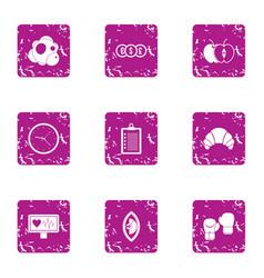 Stimulant icons set grunge style vector