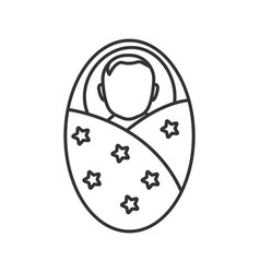 Swaddled baby linear icon vector