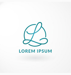 symbol with combination swirl letter l and line vector image