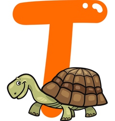 T for turtle vector image