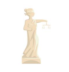 themis femida statue lady justice cartoon vector image