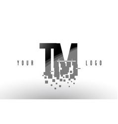 Tm t m pixel letter logo with digital shattered vector