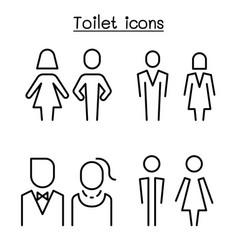 toilet restroom bathroom symbol set in modern vector image