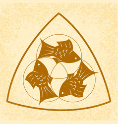 Trinity sunday christian holiday three fish vector